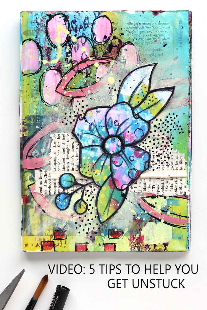 Big flower art journal page in blue, purple and bright green by Kim Dellow