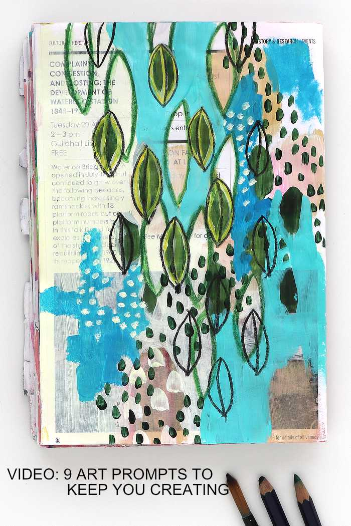 Cascade of leaves, art flowing junk journal page by Kim Dellow