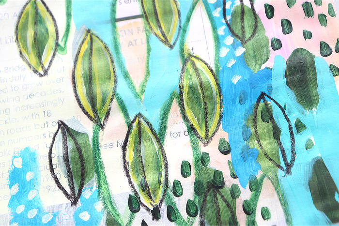 close-up of Cascade of leaves, art flowing junk journal page by Kim Dellow