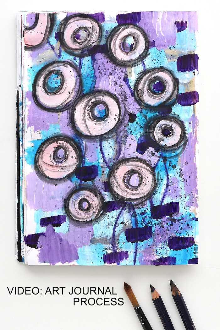 Purple and blue art journal process from Kim Dellow
