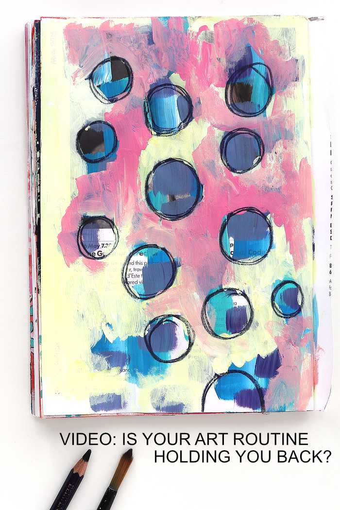 Yellow, pink and blue art journal page from Kim Dellow