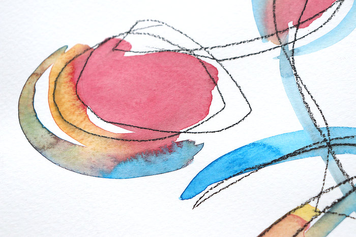 close up of abstract watercolour exercises from Kim Dellow