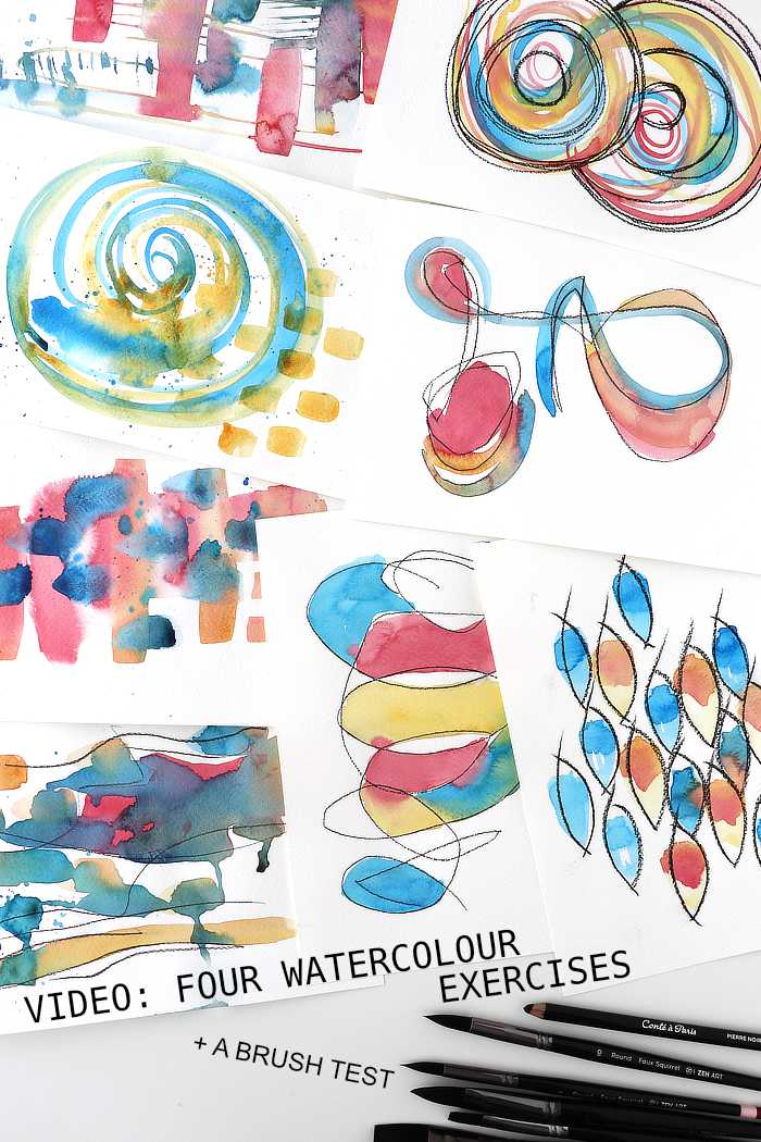 abstract watercolour exercises from Kim Dellow
