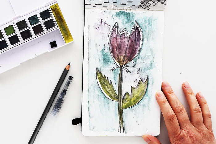 Working with muted colour a flower by Kim Dellow